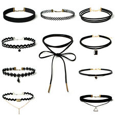 Choker Collar Necklace 10pcs Charm Stretch Velvet Classic Gothic Pendant Chain
