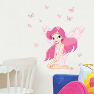 REMOVABLE PINK FAIRY PRINCESS  WALL STICKER DECAL BABY KIDS CHILDREN GIRLS ROOM