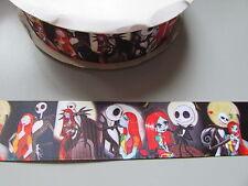 Jack Skeleton Grosgrain Ribbon 3.7cm  x 1 Metre  Sewing/Halloween/Crafts/Cake