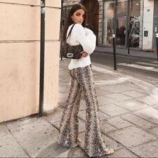 NWT Zara Snakeskin Print Animal Phyton Snake Print Flared Trousers Pants S M L