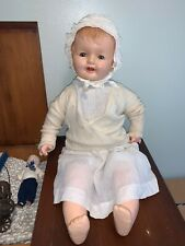 "Antique Smiling Baby Doll with Sleepy Blue Eyes 27"" Big Girl"
