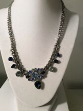 Clear Crystal Necklace #302 Gn Givenchy Silver Tone Chain Blue