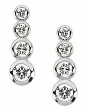1.24 ct Round Diamond 4 stone Graduated Journey Earrings 14k White Gold VS/SI1