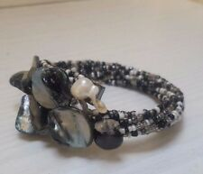 Lovely Ladies Shades Of Black Silver White Colour Stones & Faux Pearls Bracelet