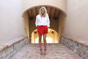 Shakuhachi Faux Leather Wrap Shorts Red Size AU/UK10 US M NWOT