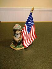 Charming Tails Protector Of Freedom 98/298 Usa Flag Fitz & Floyd New Old Stock