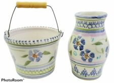 Hand Thrown Studio Art Pottery Handpainted Floral Vase and Pail Bucket Planter