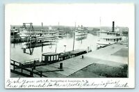 Jamestown, NY - c1906 VIEW OF BOATLANDING HARBOR - RIVER STEAMSHIPS - POSTCARD