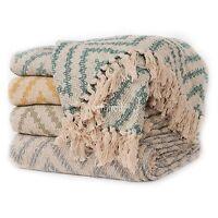 Fair Trade 125x150cm ZigZag Cotton Sofa Settee ArmChair Bedspread Blanket Throw