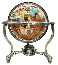 "14"" Amber Pearl Swirl Ocean 3- leg Silver table stand Gem Gemstone World globe"