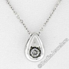 10 Quilates Oro Blanco 10 Pt Redondo 1 Diamante Petite Lágrima 40.6cm
