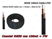 Matassa Cavo Coassiale 100 Metri RG59 CCS per Telecamere AHD con Alimentazione