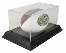 Football Display Case with Wood Base - Black