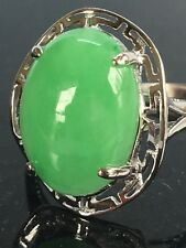 Pacific Style™ 10-14mm Oval Green Jadeite SS Solitaire Greek Key Ring Size 8.5