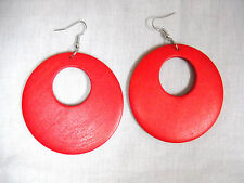 NEW XL RICH TRUE RED COLOR STAINED REAL WOOD DANGLING ROUND FLAT HOOP EARRINGS