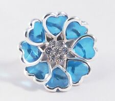 One New Blue Heart Stretch Ring With Genuine Crystals #R1067