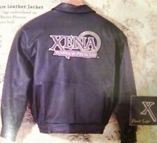 XENA - THE OFFICAL XENA BLACK LEATHER JACKET WITH LOGO - NEW - SIZE LARGE
