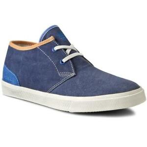 TIMBERLAND Men's HOOKSET CANVAS SUEDE TRIM SHOES  - Navy Blue - NEW