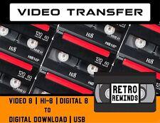 Hi8 Video8 Digital8 Video Transfer Service ~ 8mm Tape to Digital Download or Usb