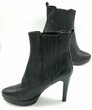 HAKAI SPAIN Ankle Boot Leather Women Shoe Platform 38 Black Leather Stiletto