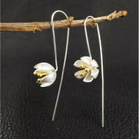 1 Pair Silver Handmade Lotus Flower Long Earrings for Women Jewelry Gifts