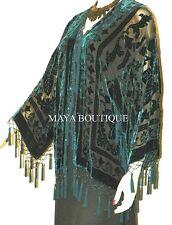 Beaded Silk Kimono Jacket Duster Burnout Velvet Dark Teal On Black Maya Matazaro