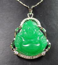 Gold Plate Green JADE Pendant Buddha God Necklace Diamond (Imitation) 285781 US