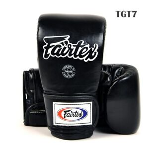 Fairtex Bag Gloves Cross Trainer TGT7 Closed Thumb All Black  Boxing MMA K1