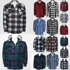 MENS LUMBER JACK HOODIE WARM WINTER TOPS PADDED FLEECE LINED SHERPA THICK SHIRT