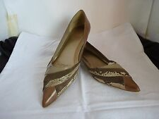 BONBONS ANISETTE LOW HEEL LADIES TAUPE LEATHER SHOES SIZE 9.5