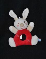 Peluche doudou lapin rouge SUCRE D'ORGE spirale blanc grelot 14/20 cm TTBE