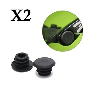 Handlebar Bar End Grip Plugs Cap Stoppers Rubber Black Bicycles 15mm - Pack of 2