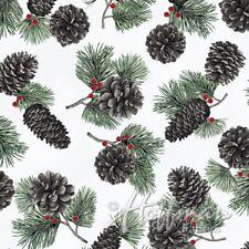 Cardinal Carols By Hoffman Fabrics - #Q7626-521S Mist/Silver Pine Cones