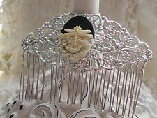Silver Filigree Hair Comb - Dragonfly & Lotus Flower Cameo