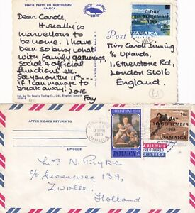 GG4736 Jamaica 6 different covers postcard with  C-Day overprint stamps