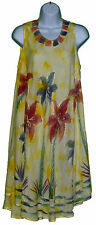 NEW Yellow Spot Umbrella dress Fits XL 1X Beach Cover Up Tunic Embroidery NWT