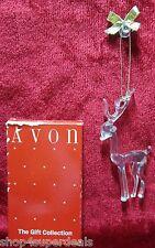 "Avon Vintage Images of Christmas 4"" Hi Reindeer Clear Crystal Like Ornament Box"