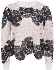 Alice + olivia Jesse Sweater Lace guipure Knit Top Black Nude Size XS NWOT