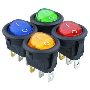 ✅ KFZ Kippschalter Wippschalter LED Rund 20mm EIN / AUS 3 PIN DC 12V / 20A ✅