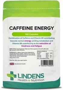 Caffeine Energy 200mg & Vitamin B1 (100 capsules) sports, study UK Manufacturer