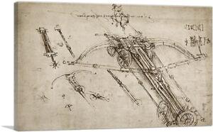 ARTCANVAS Giant Crossbow Design 1485 Canvas Art Print by Leonardo da Vinci