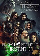 Personalised GAME OF THRONES  BIRTHDAY CARD any name