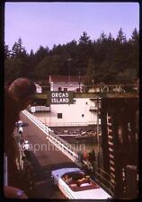 Convertible Car on Bridge ORCAS ISLAND WA San Juan County Vtg 1962 Slide Photo