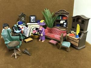 VTG Playmobil Living Room / Library Set for Victorian Mansion Dollhouse