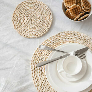 Round Natural Hand Woven Corn Straw Placemat Braided Coasters Table Mat Pads 1B