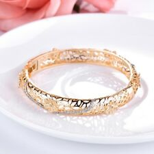 Promise Design Women Sparkly Sapphire Crystal Yellow Gold Bangle Cuff Bracelet