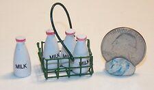 Dollhouse Miniature Milk Bottles in Wire Basket 1:12  scale D31 Dollys Gallery