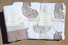 POTTERY BARN BABY ~ ZEBRA SAFARI CRIB/NURSERY BEDDING ~ CRIB SKIRT & QUILT