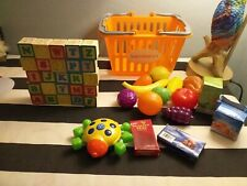Childs shopping basket plastic fruit blocks bundle