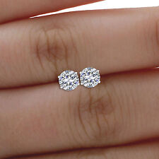 0.50 Ct Solitaire Round Cut Moissanite Diamond Earring 14K Real White Gold Studs